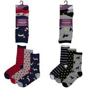 Ladies 3pack Cotton Rich Design Socks (size Uk4-7) (SK256A)